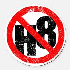 NO H8 red nb Round Car Magnet