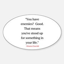 CHURCHILL QUOTE - ENEMIES Sticker (Oval)