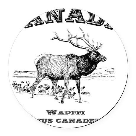 Canadian Wapiti Round Car Magnet