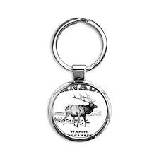 Canadian Wapiti Round Keychain