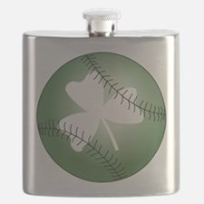 Baseball Shamrock Flask