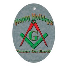Card Hap hol peace tms Oval Ornament
