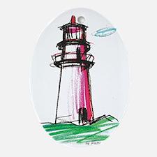 RedLighthouse8 Oval Ornament