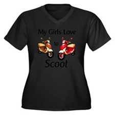 1_MyGirlsLov Women's Plus Size Dark V-Neck T-Shirt