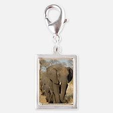 Elephants in a row Silver Portrait Charm