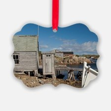 Cabin with outhouse in scenic har Picture Ornament