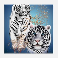 IpodSleeve Two White Tigers Tile Coaster