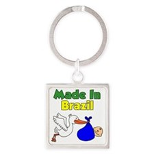 Made In Brazil Boy Square Keychain
