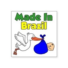 "Made In Brazil Boy Square Sticker 3"" x 3"""