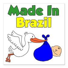 "Made In Brazil Boy Square Car Magnet 3"" x 3"""