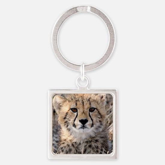 Cheetah Cub4-1large Square Keychain