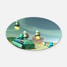 Robot Invasion From Above Oval Car Magnet
