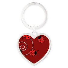 Cute Red Ladybugs Heart Keychain