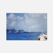 Bequia. Harbor and local ferrycen Rectangle Magnet