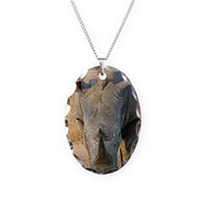 White Rhino Necklace Oval Charm