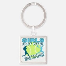 girls fastpitch Square Keychain