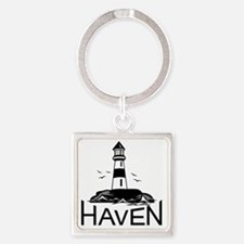 Unofficial Haven Logo White Square Keychain