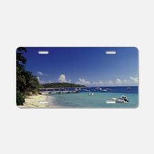 White sand beach and coastd Aluminum License Plate