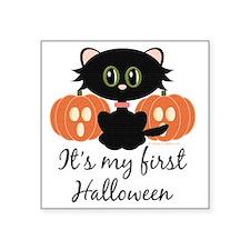 "MyFirstHalloweenCatPumpkins Square Sticker 3"" x 3"""
