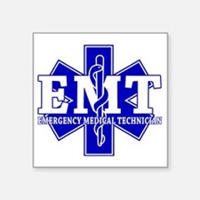 "star of life - blue EMT wor Square Sticker 3"" x 3"""