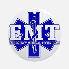 star of life - blue EMT word Round Ornament