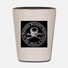 MPS seal white with skull sticker 2 Shot Glass