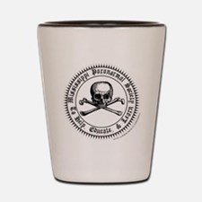 MPS seal white with skull sticker Shot Glass