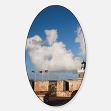 El Morro lighthouse and canonballsn Sticker (Oval)
