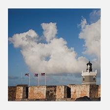 El Morro lighthouse and canonballsn,  Tile Coaster