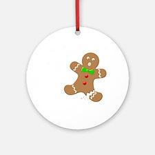 Gingerbread Man Law Suit3 3D LT Round Ornament