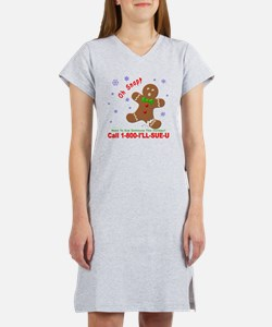Gingerbread Man Law Suit3 3D Dk Women's Nightshirt