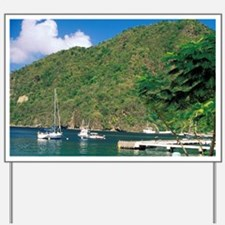 Caribbean, St. Lucia, Soufriere. Boats i Yard Sign