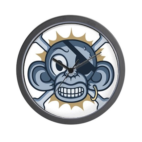 monkey-pirate-blu-T Wall Clock