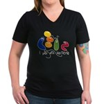 Play with Bacteria Women's V-Neck Dark T-Shirt