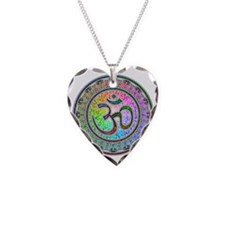 OM-mandala Necklace Heart Charm