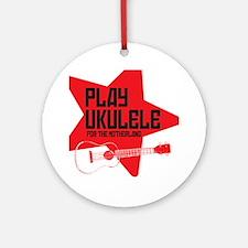 funny russian soviet union ukulele  Round Ornament