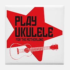 funny russian soviet union ukulele uk Tile Coaster