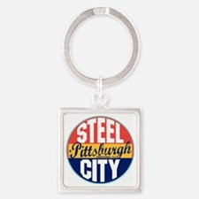 Pittsburgh Vintage Label W Square Keychain