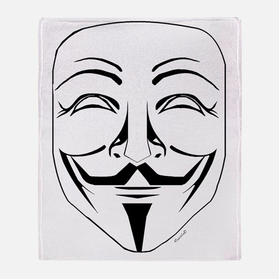Anonymous Mask Stencil Throw Blanket