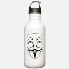 Anonymous Mask Stencil Water Bottle