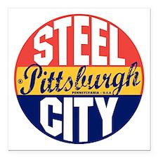 "Pittsburgh Vintage Label Square Car Magnet 3"" x 3"""