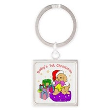 1st Christmas Puppy Candy Canes Square Keychain