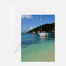 Cruz Bay. Sailboats in Cruz Bay harb Greeting Card