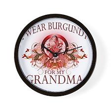 I Wear Burgundy for my Grandma (floral) Wall Clock