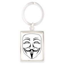 Anonymous Mask Pin Portrait Keychain