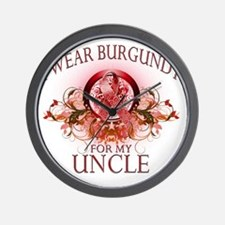 I Wear Burgundy for my Uncle (floral) Wall Clock