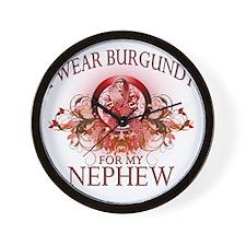 I Wear Burgundy for my Nephew (floral) Wall Clock