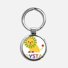 Krystal-the-lion Round Keychain