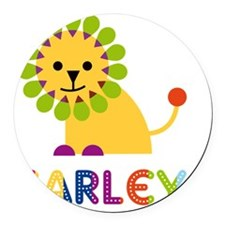 Carley-the-lion Round Car Magnet