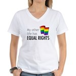 My Other Life Rainbow Women's V-Neck T-Shirt
